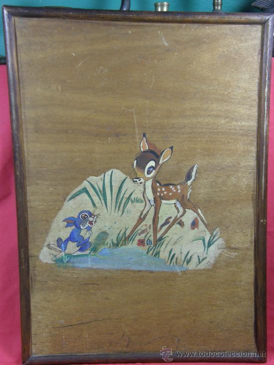BAMBI Y TAMBOR PINTADOS EN TABLA CONTRACHAPADA, AÑOS 30 (Arte - Varios Objetos de Arte)