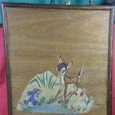 Varios objetos de Arte: BAMBI Y TAMBOR PINTADOS EN TABLA CONTRACHAPADA, AÑOS 30. Lote 27954073