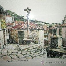 Varios objetos de Arte: ANTIGUO CUADRO CON DIBUJO A PLUMILLA DE-EMILIO CELEIRO-1982-CRISTAL-COMBARRO-OBRA ORIGINAL.. Lote 28245636