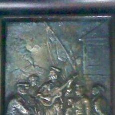 Varios objetos de Arte: BAJORRELIEVE DE ESCENA COSTUMBRISTA CATALANA. METAL ENMARCADO. Lote 28328295