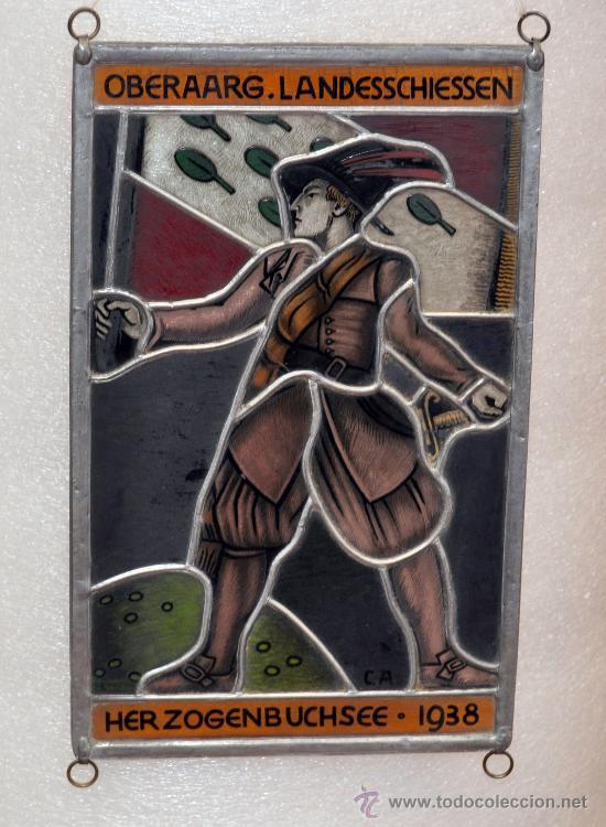 PRECIOSO PLAFÓN DE CRISTALES DE COLORES EMPLOMADOS MANUFACTURA ALEMANA AÑO 1938 (Arte - Varios Objetos de Arte)