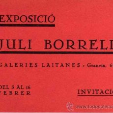 Varios objetos de Arte: ANTIGUA INVITACIÓN - DIPTICO - EXPOSICIÓ DE JULI BORRELL - GALERIES LAIETANES. Lote 28632940