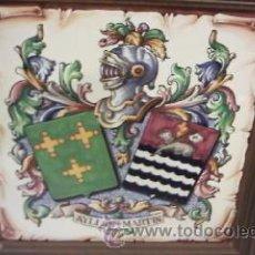 Varios objetos de Arte: CUADRO EN AZULEJO CON EL ESCUDO DEL APELLIDO AYLLON MARTIN. Lote 28824679