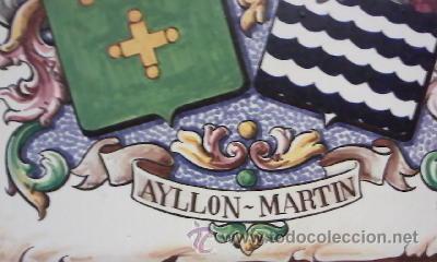 Varios objetos de Arte: Cuadro en azulejo con el escudo del apellido AYLLON MARTIN - Foto 2 - 28824679