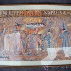 Varios objetos de Arte: ENTIERRO DE LA SARDINA AÑO 2001. MURCIA. CARTEL CON FIRMA ORIGINAL DEL PINTOR MUÑOZ BARBERÁN. Lote 29983175