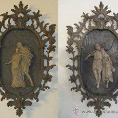 Varios objetos de Arte: ANTIGUA PAREJA BRONCE Y CALAMINA. Lote 30227719