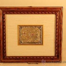 Varios objetos de Arte: CUADRO CON MINIATURA EN PLATA DE LEY ALEGORIA OTOÑO. Lote 30320320