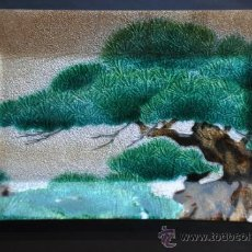 Varios objetos de Arte: ANTIGUA BANDEJA ORIENTAL METALICA ESMALTADA CHINA. Lote 31319993