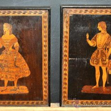Varios objetos de Arte: PAREJA DE PLAFONES VICTORIANOS EN MADERA CON INCRUSTACIONES Y MARQUETERIA DE BOJ.. Lote 31702265