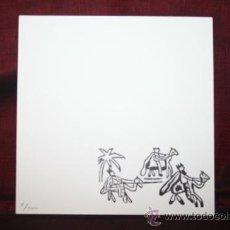 Varios objetos de Arte: TARJETÓN CON ILUSTRACIÓN Y POEMA DE LINA FONT. FIRMADO Y NUMERADO POR LA ARTISTA. Lote 31859743