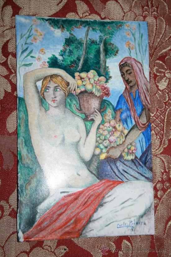 Varios objetos de Arte: O5-013. FANTÁSTICA PAREJA DE ESMALTES. PINTADO A MANO POR CARLES RIDAURE EN 1934 - Foto 2 - 32125133