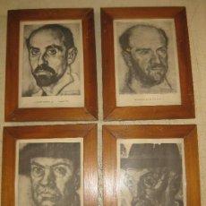 Varios objetos de Arte: CUATRO LAMINAS DE VAZQAUEZ DIAZ DE ESCRITORES ENMARCADAS. Lote 32299560