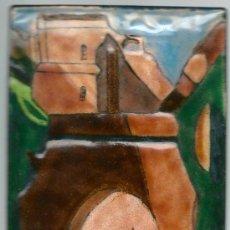 Varios objetos de Arte: ESMALTE AL FUEGO SOBRE PLANCHA METAL (GRUA EN EL PUERTO). Lote 32418478