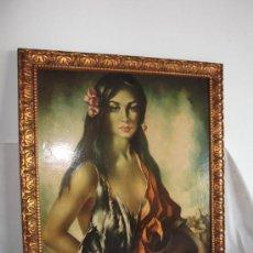 Varios objetos de Arte: ANTIGUO CUADRO CON MARCO, MUJER POSANDO 59 CM X 71 CM. Lote 32550537