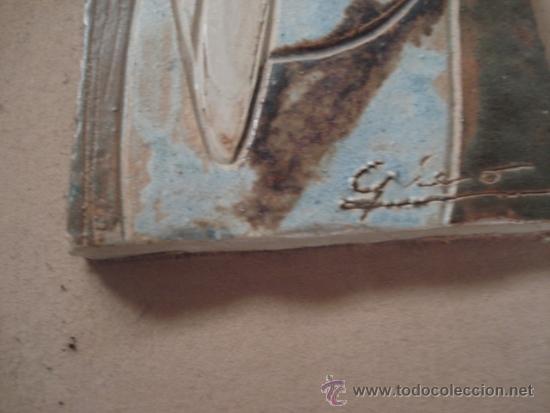 Varios objetos de Arte: bonito cuadro con ceramica grabada y pintada a mano, firmada - Foto 2 - 68937463
