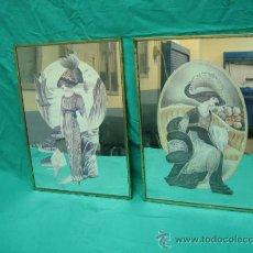 Varios objetos de Arte: PAREJA DE CUADROS PINTADOS EN CRISTAL. MEDIDAS 28´5 X 38´5 CM. Lote 33655479