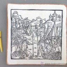 Varios objetos de Arte: BATALLA MEDIEVAL. GRABADO IMPRESO EN PIEZA DE BARRO. 20X20CM. Lote 33759461