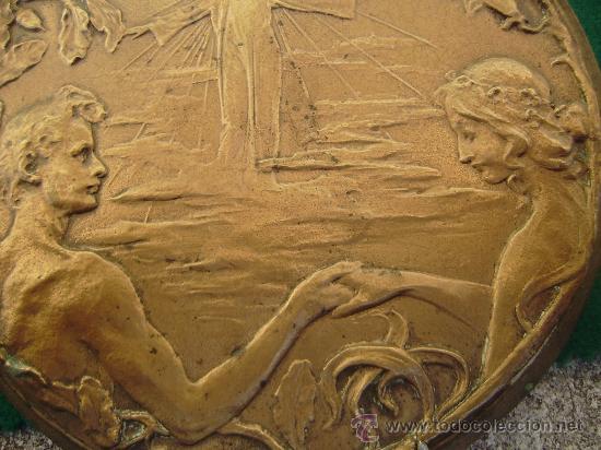 PLACA MODERNISTA EN BRONCE.ADAN Y EVA EN EL PARAISO (Arte - Varios Objetos de Arte)