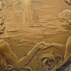 Varios objetos de Arte: PLACA MODERNISTA EN BRONCE.ADAN Y EVA EN EL PARAISO. Lote 34143772