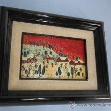 Varios objetos de Arte: CUADRO NAÏF ESMALTADO NIÑOS JUGANDO EN LA NIEVE. Lote 34332391