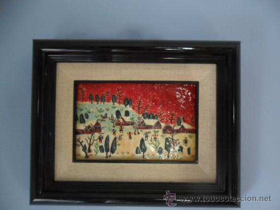 Varios objetos de Arte: CUADRO NAÏF ESMALTADO NIÑOS JUGANDO EN LA NIEVE - Foto 2 - 34332391