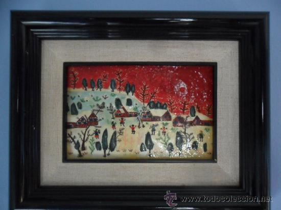 Varios objetos de Arte: CUADRO NAÏF ESMALTADO NIÑOS JUGANDO EN LA NIEVE - Foto 3 - 34332391