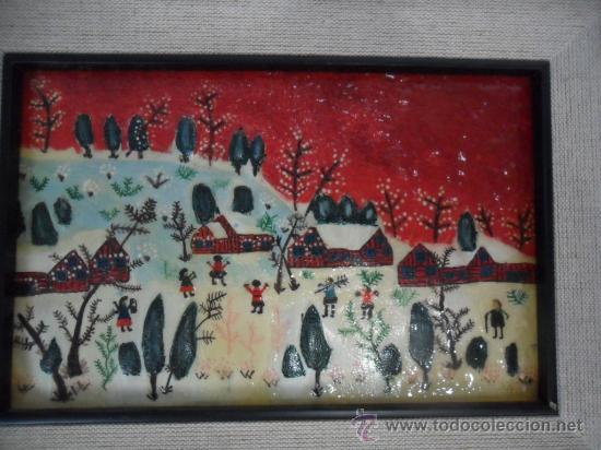 Varios objetos de Arte: CUADRO NAÏF ESMALTADO NIÑOS JUGANDO EN LA NIEVE - Foto 4 - 34332391