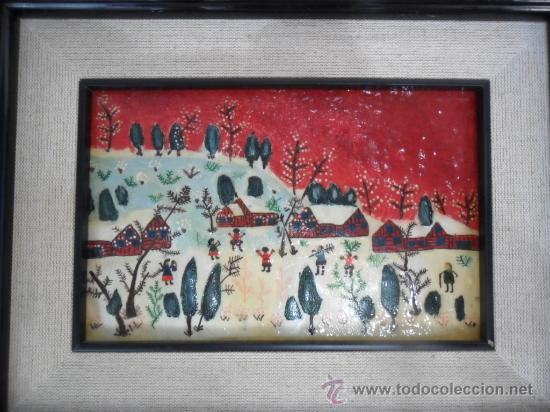 Varios objetos de Arte: CUADRO NAÏF ESMALTADO NIÑOS JUGANDO EN LA NIEVE - Foto 5 - 34332391