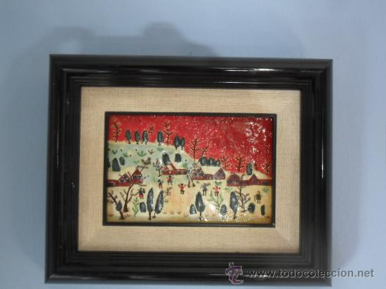 Varios objetos de Arte: CUADRO NAÏF ESMALTADO NIÑOS JUGANDO EN LA NIEVE - Foto 6 - 34332391