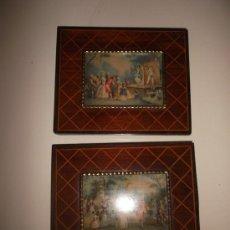 Varios objetos de Arte: 2 PEQUEÑOS CUADROS ANTIGUOS DE MARQUETERIA ESTILO FRANCÉS 15 X 12. Lote 34348898
