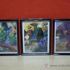 Varios objetos de Arte: LOTE DE TRES MARCOS LACADOS NEGRO BRILLANTE LAMINAS MOTIVOS DEL HOROSCOPO. Lote 34364180