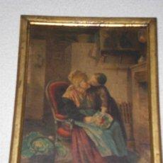 Varios objetos de Arte: CUADRO LAMINA DEL SIGLO XIX CON MADRE Y HIJO. Lote 34653699