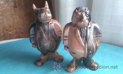 Varios objetos de Arte: Lote de 2 tallas de madera noble.Un León y Un Hipopótamo.Gordos y con traje. - Foto 2 - 35237065