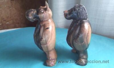 Varios objetos de Arte: Lote de 2 tallas de madera noble.Un León y Un Hipopótamo.Gordos y con traje. - Foto 3 - 35237065