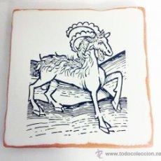 Varios objetos de Arte: GRABADO ANTIGUO DE ANIMAL IMPRESO EN BALDOSA DE BARRO. 20X20 CM. IMPRESIÓN DIRECTA SOBRE LA LOSA. Lote 35379344