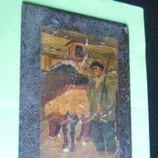Varios objetos de Arte: PINTURA LACADA EN MADERA DE MOTIVOS VASCOS, DE PRINCIPIOS DEL SIGLO XX. MEDIDAS 34 X 22 CM. Lote 35865697