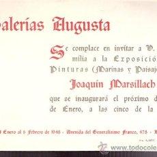 Varios objetos de Arte: JOAQUÍN MARSILLACH. ENERO 1948. GALERIAS AUGUSTA. BARCELONA.DÍPTICO.16 X 11 CMTRS.. Lote 35998322