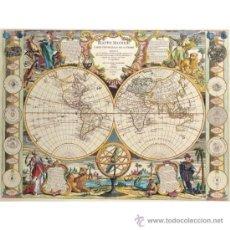 Varios objetos de Arte: LAMINA MURAL GIGANTE MAPA ANTIGUO: CARTA UNIVERSAL DE LA TIERRA 1755 .120 X 90 CM, EN PAPEL GRUESO . Lote 36017365