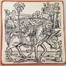Varios objetos de Arte: BUFÓN EN BURRO. GRABADO ANTIGUO IMPRESO EN LADRILLO DE BARRO. 20X20 CM . Lote 36312542