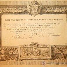 Varios objetos de Arte: CARLOS CAMPUZANO. TÍTULO DE ACADÉMICO CORRESPONDIENTE DE LA REAL ACADEMIA DE SAN FERNANDO. Lote 36429693