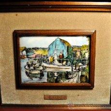 Varios objetos de Arte: CUADRO ESMALTE REPRODUCCIÓN J. SESSIONS BARCAS DE PESCADORES. Lote 36526691