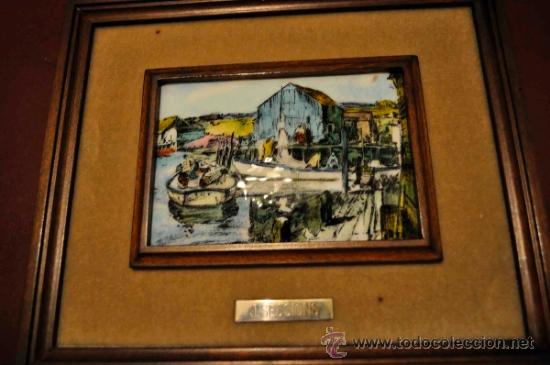 Varios objetos de Arte: Cuadro esmalte reproducción J. Sessions barcas de pescadores - Foto 3 - 36526691