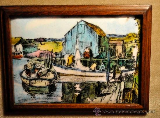 Varios objetos de Arte: Cuadro esmalte reproducción J. Sessions barcas de pescadores - Foto 2 - 36526691