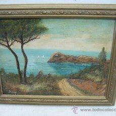 Varios objetos de Arte: RIGO - TABLA SOBRE MADERA PINTADA PAISAJE MARÍTIMO. Lote 37377682