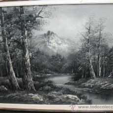 Varios objetos de Arte: LAMINA PINTADA DE PAISAJE MONTAÑOSO CON RÍO. Lote 37377882