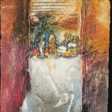 Varios objetos de Arte: JORDI ANDREU FRESQUET - OBRA ORIGINAL - BODEGÓN, MESA, FLORERO, FRUTAS.. Lote 24936433