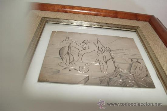 Varios objetos de Arte: Jordi Samsó Bastardas 1929 - 2008 (Barcelona) PESCADORES EN CADAQUÉS. Plata firmada - Foto 4 - 39049861