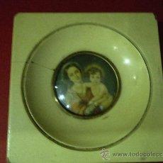Varios objetos de Arte: PRECIOSO CUADRO MINIATURA DE LA VIRGEN CON EL NIÑO FINAL SXIX. Lote 39075868