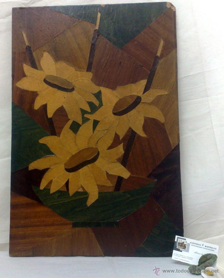 Varios objetos de Arte: ANTIGUO CUADRO DE MARQUETERÍA EN MADERA. - Foto 2 - 30855749