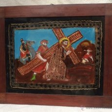 Varios objetos de Arte: PINTURA NAIF EN CRISTAL. Lote 39484562